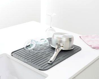 Brabantia Silikonový odkapávač na nádobí, tmavě šedý