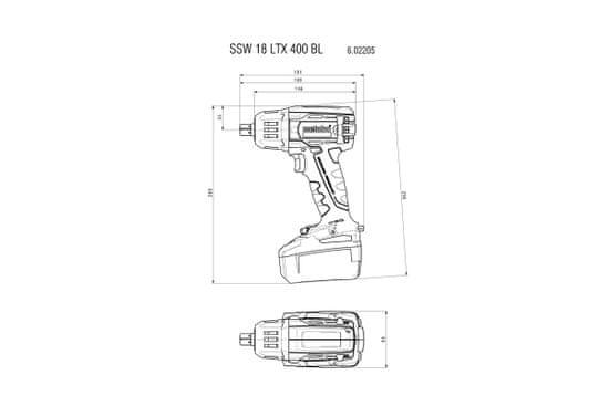 Metabo udarni vijačnik SSW 18 LTX 400 BL (602205890)
