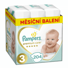 Pampers Pleny Premium Care 3 (Midi) - 6-10 kg, 204 ks