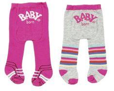 BABY born Punčocháče (2 ks) růžové + šedé