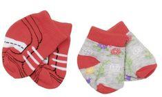 BABY born Ponožky (2 páry) červené + šedé s kytičkami