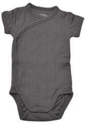 Lodger otroški bodi Romper Fold Over Solid Carbon, 56, temno siv