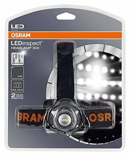 Osram Voděodolná čelovka, LEDinspect, nastavitelný úhel předního světla, zadní červené světlo