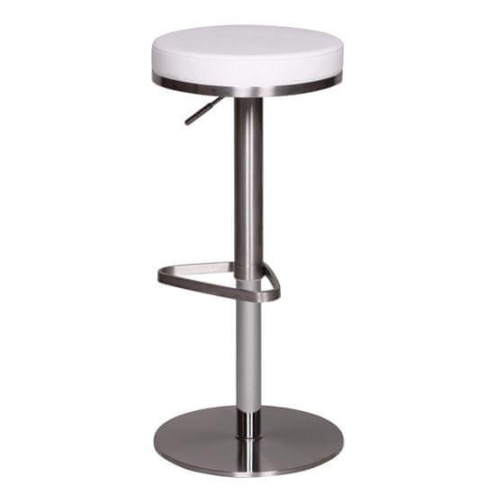 Bruxxi Barová stolička s nerezovou podnožou Dreja, biela