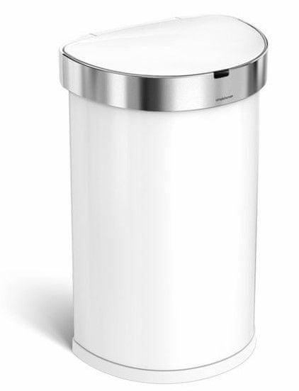 Simplehuman Bezdotykový odpadkový koš 45 l, bílá ocel