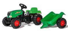 Rolly Toys traktor na pedala Rolly Kid s prikolico - zelena