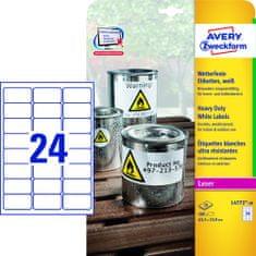 Avery Zweckform Etikete Zweckform L4773 63,5 x 33,9 mm, bele, zavitek 20 listov