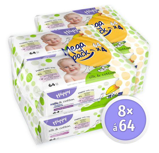 Bella Happy Čistiace obrúsky hodváb a bavlna - 8 x 64 ks