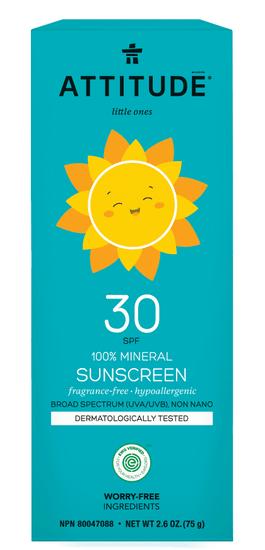 Attitude dziecięcy krem przeciwsłoneczny w 100% mineralny(SPF 30 ), bezzapachowy 75g