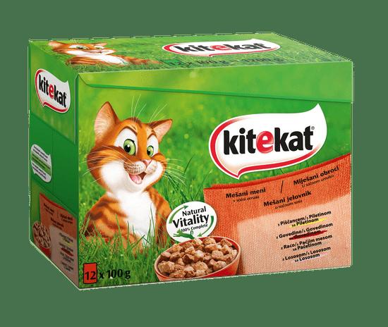 Kitekat mokra hrana za mačke, mešani meni, 12 x 100 g