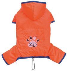 Doggy Dolly dežni plašč 4 tačke, oranžen, L