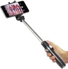 SBS tripod selfie palica, teleskopska, daljinsko sprožilo, črna