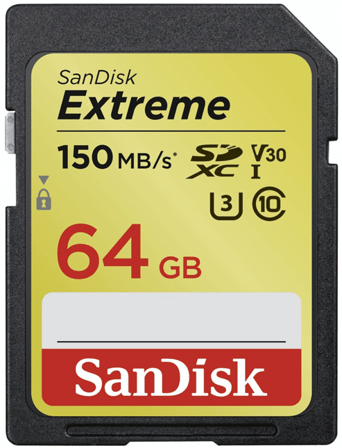 SanDisk Extreme SDXC 64GB 150 MB/s C10 V30 UHS-I U3 (SDSDXV6-064G-GNCIN)
