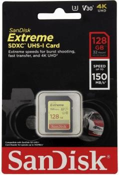 SanDisk Extreme SDXC 128GB C10 V30 UHS-I U3 (SDSDXV5-128G-GNCIN)