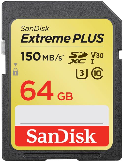 SanDisk Extreme Plus SDXC 64GB 90 MB/s C10 V30 UHS-I U3 (SDSDXW6-064G-GNCIN)