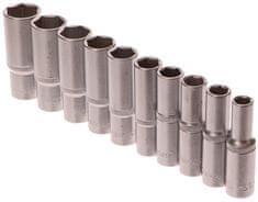 """GEKO Nástrčné hlavice prodloužené 1/2"""", sada 10ks, 10-24mm, CrV ocel"""