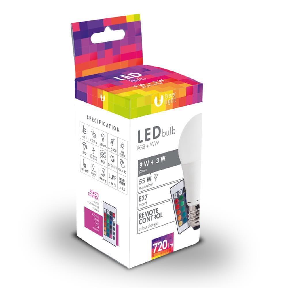 Forever LED žárovka A60 E27 3W a 9W bílá s dálkovým ovládáním