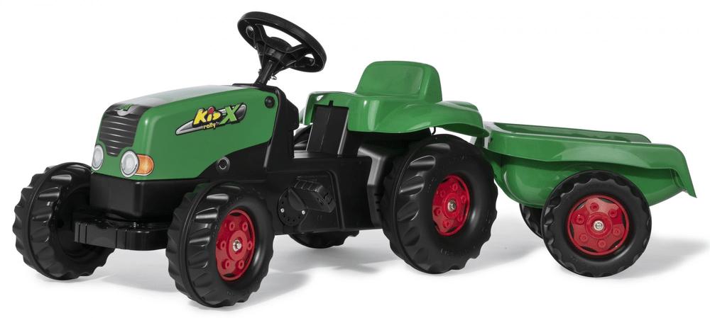 Rolly Toys Šlapací traktor Rolly Kid s vlečkou - zelená