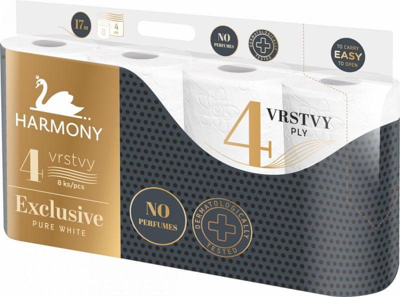 Harmony Toaletní papír EXCLUSIVE PURE WHITE 7x8 rolí, 4vrstvý