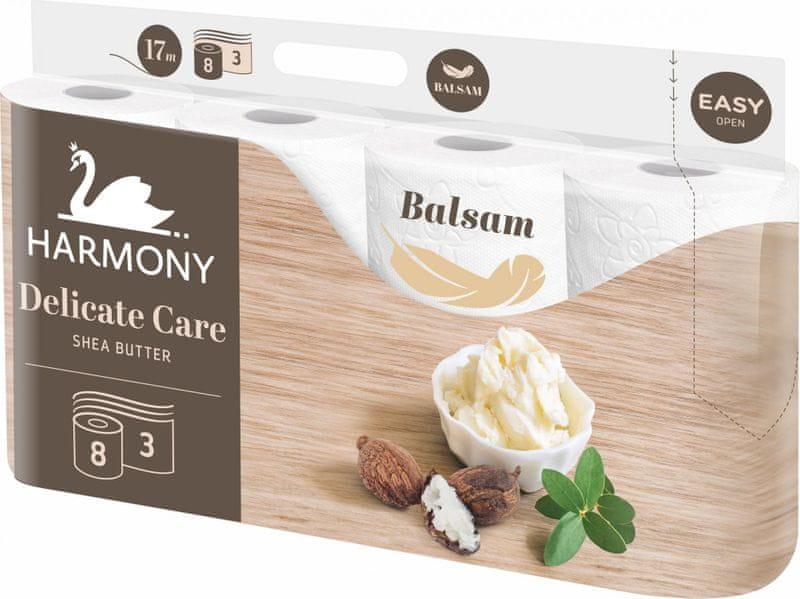 Harmony Toaletní papír DELICATE CARE Shea Butter 8x8 rolí, 3vrstvý