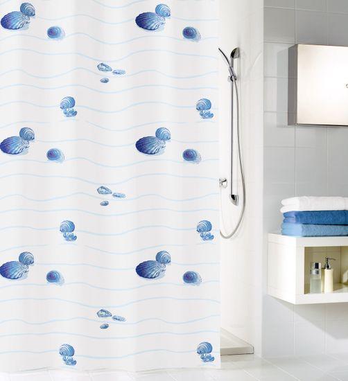 Kleine Wolke tekstilna zavesa za tuš MIAMI 180 x 200 cm, modra