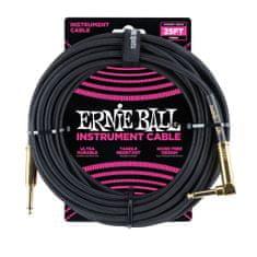 Ernie Ball 6058 25' Instrument Braided Cable - nástrojový kabel rovný / zahnutý pozlacený jack - 7.62m - černá barva