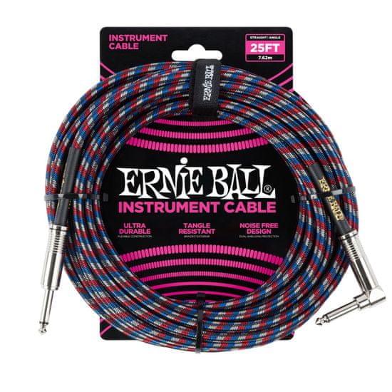 Ernie Ball 6063 25' Instrument Braided Cable - nástrojový kabel rovný / zahnutý jack - 7.62m - červená / modrá / bílá barva