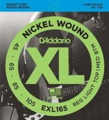 Daddario D'ADDARIO EXL165 NICKEL WOUND 4 STRING .045-.105, struny pro baskytaru