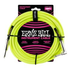 Ernie Ball 6085 18' Braided Straight / Angle Instrument Cable Neon - Yellow