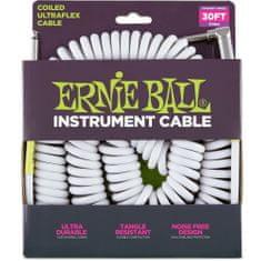 """Ernie Ball 6045 nástrojový """" Coil """" kabel 9.14m Rovný / Zahnutý Jack - bílý"""