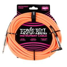 Ernie Ball 6084 18' Braided Straight / Angle Instrument Cable - Neon Orange