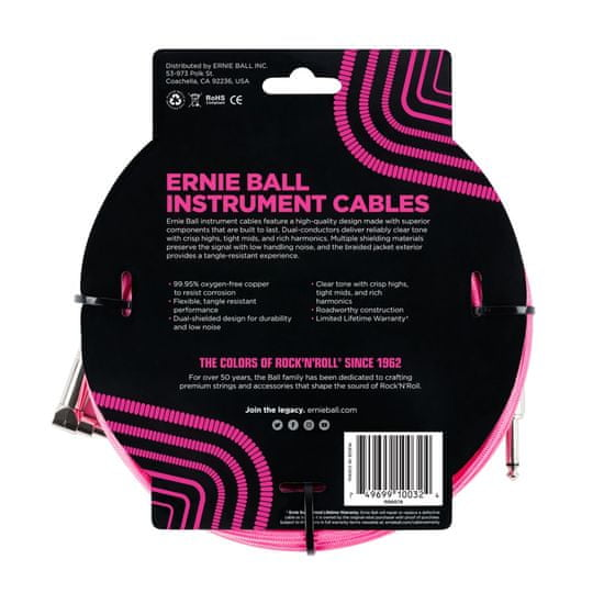 Ernie Ball 6078 10' Braided Straight / Angle Instrument Cable - Neon Pink