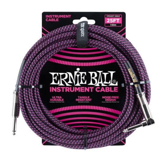 Ernie Ball 6068 25' Instrument Braided Cable - nástrojový kabel rovný / zahnutý jack - 7.62m - černofialová barva