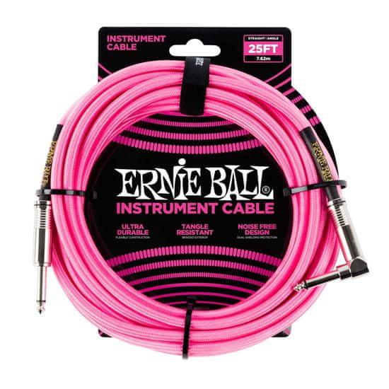 Ernie Ball 6065 25' Instrument Braided Cable - nástrojový kabel rovný / zahnutý jack - 7.62m - neonově růžová barva