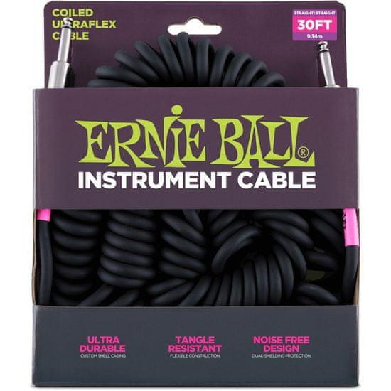 """Ernie Ball 6044 nástrojový """" Coil """" kabel 9.14m Rovný / Rovný Jack - černý"""