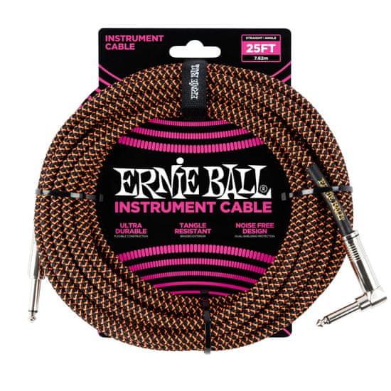 Ernie Ball 6064 25' Instrument Braided Cable - nástrojový kabel rovný / zahnutý jack - 7.62m - černooranžová barva