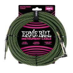 Ernie Ball 6077 10' Braided Straight / Angle Instrument Cable - Black / Green - nástrojový kabel 3m