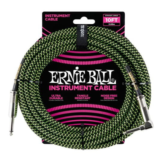 Ernie Ball 6077 10' Braided Straight / Angle Instrument Cable - Black / Green
