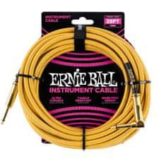 Ernie Ball 6070 25' Instrument Braided Cable - nástrojový kabel rovný / zahnutý pozlacený jack - 7.62m - zlatá barva
