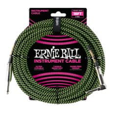 Ernie Ball 6082 18' Braided Straight / Angle Instrument Cable - Black / Green