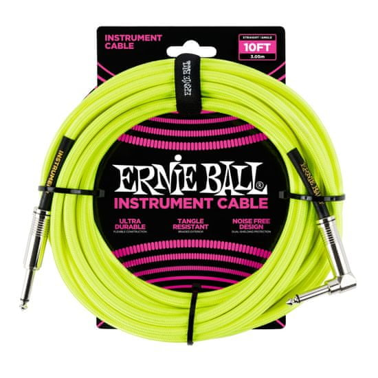 Ernie Ball 6080 10' Braided Straight / Angle Instrument Cable Neon - Yellow
