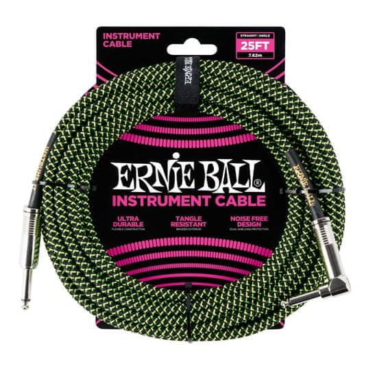 Ernie Ball 6066 25' Instrument Braided Cable - nástrojový kabel rovný / zahnutý jack - 7.62m - černozelená barva