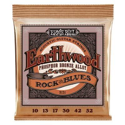 Ernie Ball 2151 Earthwood Rock&Blues Phosphor Bronze - Hybrid Slinky Acoustic .010 - .052 w/ plain G