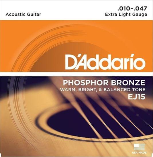 Daddario EJ15 Phosphor Bronze Acoustic Extra Light .010-.047 struny na akustickou kytaru