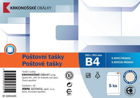 KRKONOŠSKÉ OBÁLKY Poštovní taška B4 bílá rec. samolepicí s KP, 250 x 353, 5 ks
