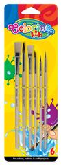 Colorino Štětce s dřevěnými držadly sada 6 kusů