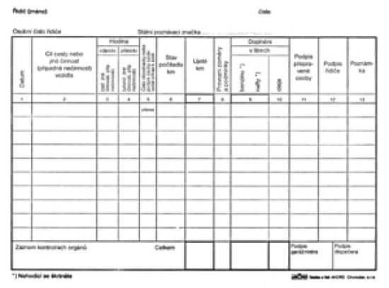 Záznam o provozu vozidla osobní dopravy A5, nečíslovaný, blok 100 L