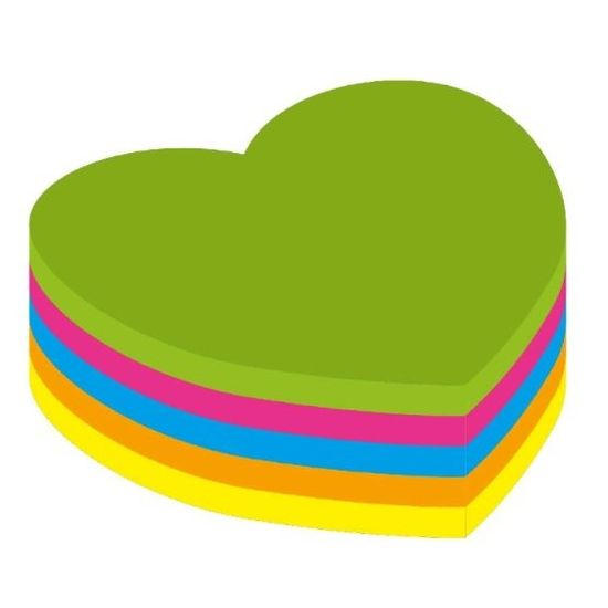 Kores Blok samolepicí neon 70 x 70 mm srdce/250 listů mix 5 barev