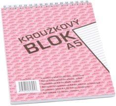Bobo Blok kroužkový s horní spirálou A5 linkovaný, 50 listů