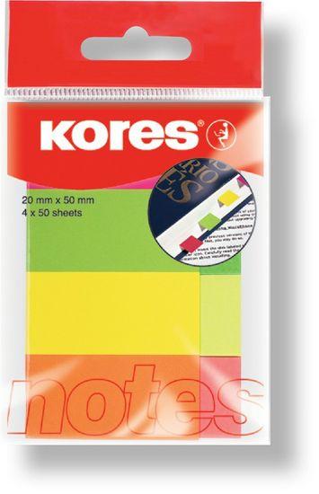 Kores  notes záložky 20 x 50 mm/4 ks neonové barvy